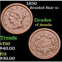 1850 Braided Hair Large Cent 1c Grades vf details