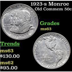 1923-s Monroe Old Commem Half Dollar 50c Grades Select Unc