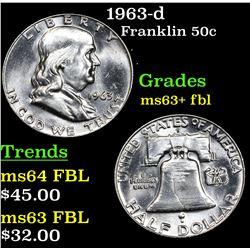 1963-d Franklin Half Dollar 50c Grades Select Unc+ FBL