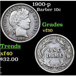 1900-p Barber Dime 10c Grades vf++