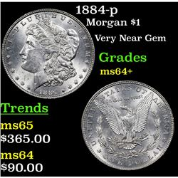 1884-p Morgan Dollar $1 Grades Choice+ Unc