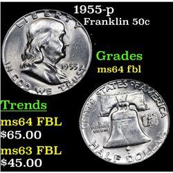1955-p Franklin Half Dollar 50c Grades Choice Unc FBL