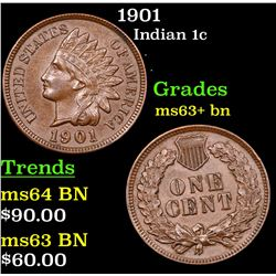 1901 Indian Cent 1c Grades Select+ Unc BN