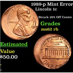 1989-p Mint Error Lincoln Cent 1c Grades Select Unc RB