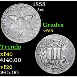 1858 Three Cent Silver 3cs Grades vf++