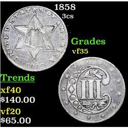 1858 Three Cent Silver 3cs Grades vf++
