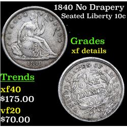 1840 No Drapery Seated Liberty Dime 10c Grades xf details