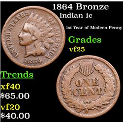 1864 Bronze Indian Cent 1c Grades vf+
