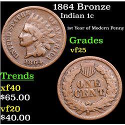 1864 Bronze Indian Cent 1c Grades vf+