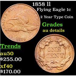 1858 ll Flying Eagle Cent 1c Grades AU Details
