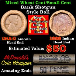 Mixed small cents 1c orig shotgun roll, 1918-d Wheat Cent, 1898 Indian Cent other end