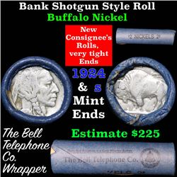 Buffalo Nickel Shotgun Roll in Old Bank Style Wrapper stamped  'Bell Telephone' 1924 & s Mint Ends