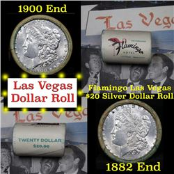 *Auction Highlight* Full Morgan/Peace Flamingo Hotel silver $1 roll $20, 1882 & 1900 ends (fc)