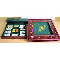 Collector's Edition Monopoly Board Game w/ Wooden Box, Chrome Game Pieces
