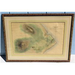 Vintage Framed Map - Island of Hawaii, Sandwich Islands w/ Volcanos, 21 x 33.5