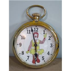 Vintage Ronald McDonald Clown Pocket Watch Hanging Clock, Battery Operated