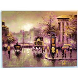 Original Painting on Canvas - Street Scene with Horse-Drawn Carriages