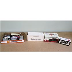 Qty 4 Boxes Model Cars  - Texaco Racing Car, See's Candy, American Red Cross, etc