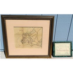 Antique Framed Map of Honolulu & Certificate of Authenticity, Circa 1893 (Approx. 27x25)