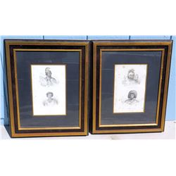 Qty 2 Framed & Matted Drawings of Ancient Hawaiian Warriors & Figures 16  x 19.5