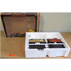 Gold Rush Train Set in Box - 2 Cars & 18' of Railroad Track (Engine & Transformer are Missing)