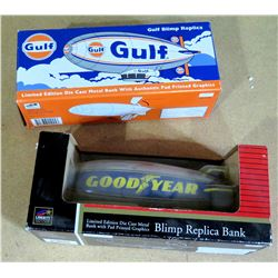Qty 2 Blimp Die Cast Replica Banks in Box - Gulf & Goodyear, Ltd Edition