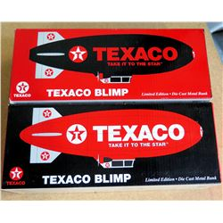 Qty 2 Texaco Blimps Ltd. Edition Die Cast Metal Banks  Take it to the Star