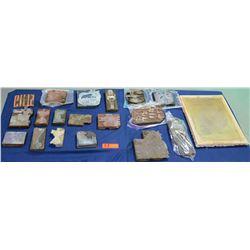 Multiple Misc Stone & Wood Block Printing Blocks - Nature, Hawaii, Hula Girl, etc
