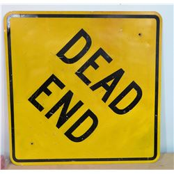 "Yellow Black ""Dead End"" Street Sign"