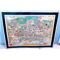 "Framed Honolulu Cartoon Map 1984, Celebrating 25 Years of Statehood 37"" x 28"""