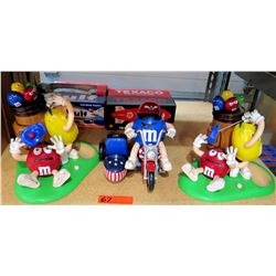 Qty 3 Collectible M&M Figures - 2 Golfing & One on Motorcycle w/ Sidecar