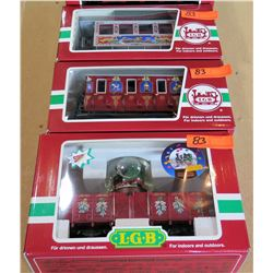 Qty 3 Train Cars 33077, 31500 & 42215 in Box by L.G.B. Lehmann-Gross Bahn Big Train