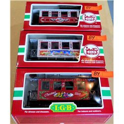 Qty 3 Train Cars 35075, 33077 & 36075 in Box by L.G.B. Lehmann-Gross Bahn Big Train