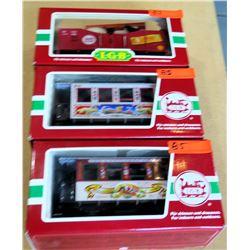 Qty 3 Train Cars 35076, 33077 & 41220 in Box by L.G.B. Lehmann-Gross Bahn Big Train