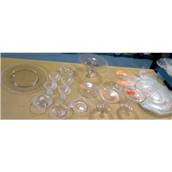 Misc Round Edge Glassware Set, Serving Platters, Candy Dishes, Wine Glasses, etc