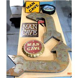 Man Cave  Décor - Arrows, Man Cave Sign, Man Cave Beer Cap Clock, etc