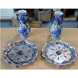 Qty 2 Blue Oriental Vases & 2 Wallace 1114 Silverplated Footed Serving Trays