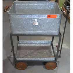 Vintage Rolling Cooler Cart w/ Bottle Opener