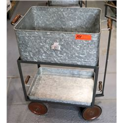 Vintage Rolling Cooler Cart w/ Bottle Opener