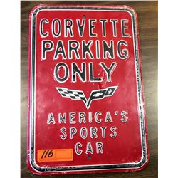 Red Metal Sign 'Corvette Parking Only - America's Sports Car'