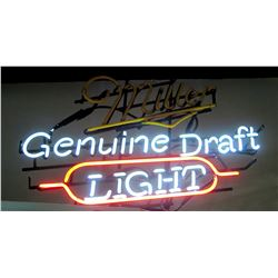 "Neon Light Bar Sign - Miller Genuine Draft Light (""Miller"" Part Doesn't Light Up)"