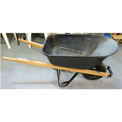 Black Metal Wheelbarrow w/ Wood Handles