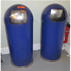 Qty 2 Metal Domed Commercial Garbage Cans
