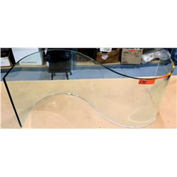 """S"" Shaped Clear Glass Room Divider"