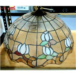 Vintage Tiffany Style Hanging Stained Glass Lamp, Floral Design