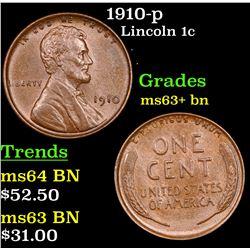 1910-p Lincoln Cent 1c Grades Select+ Unc BN