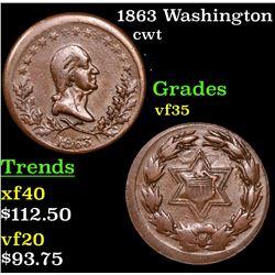 1863 Washington Civil War Token 1c Grades vf++