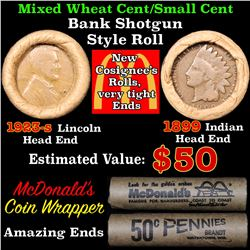 Mixed small cents 1c orig shotgun roll, 1923-s Wheat Cent, 1899 Indian Cent other end