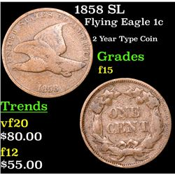 1858 SL Flying Eagle Cent 1c Grades f+