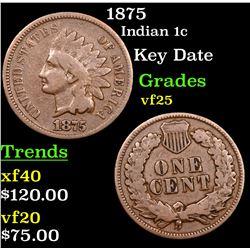 1875 Indian Cent 1c Grades vf+